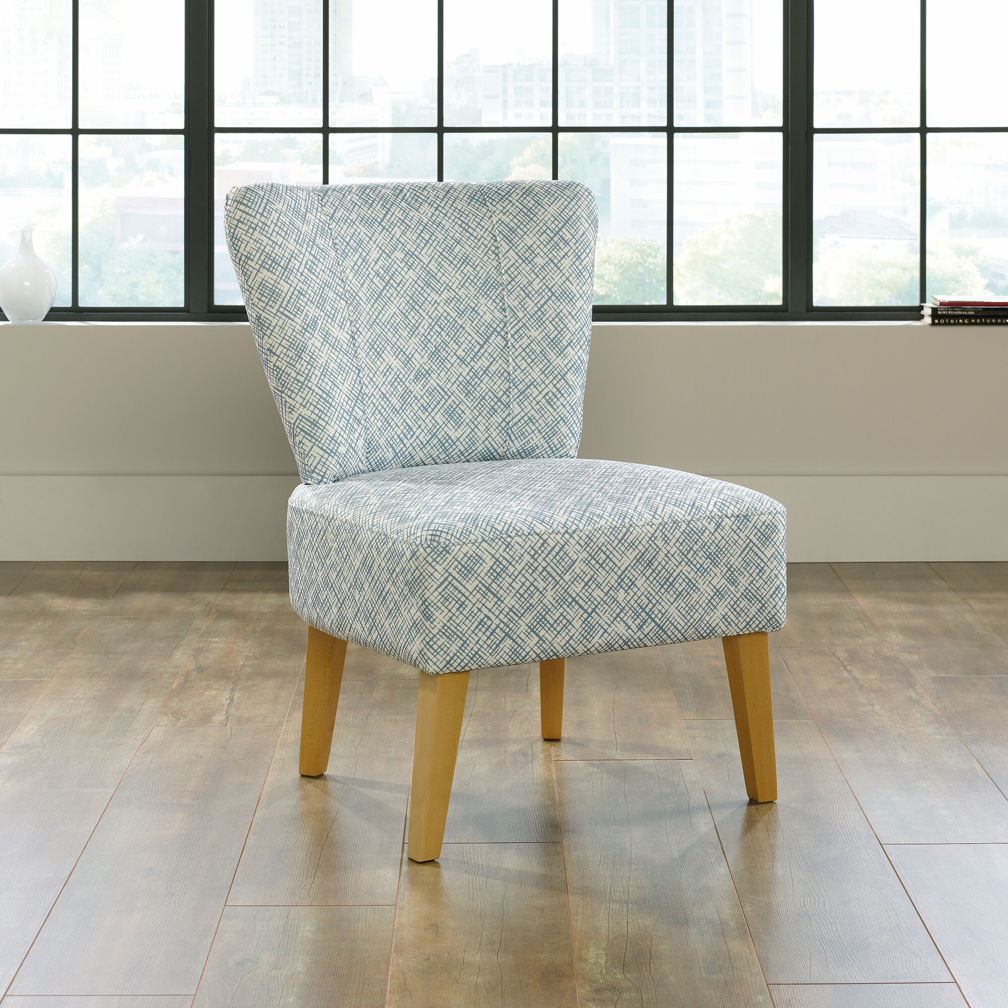 "Mathis Brothers Accent Reclining Chair: Contemporary Thatch-Patterned 25"" Accent Chair In Blue"