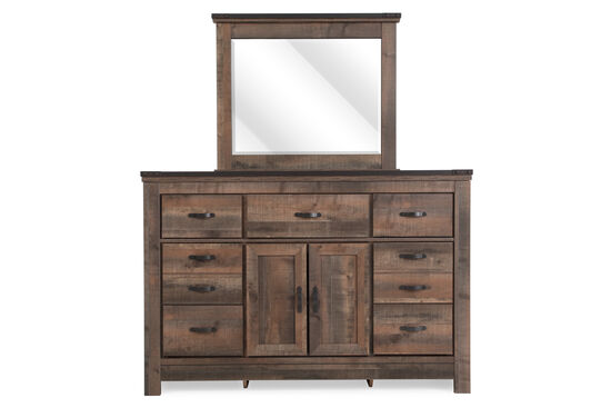 Two-Piece Rustic Farmhouse Planked Dresser and Mirror in Brown