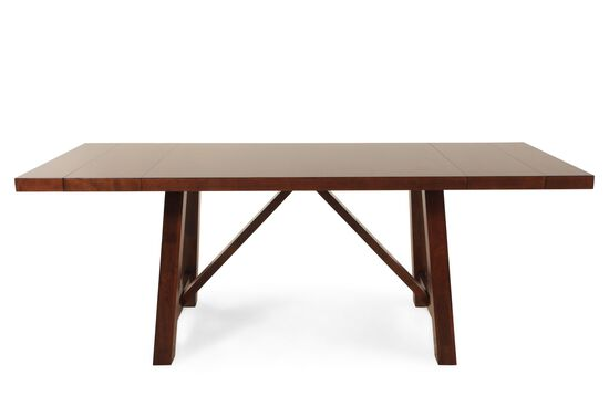"Traditional 70"" to 96"" Trestle Dining Table in Medium Brown"