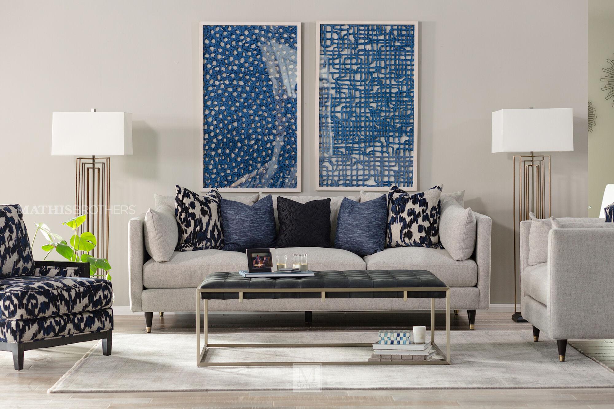 "Low-Profile Mid-Century Modern 45"" Sofa in Stone   Mathis ..."