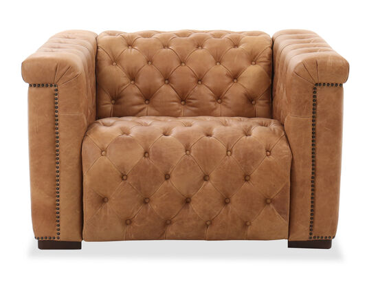 """47"""" Leather Power Recliner in Brown"""
