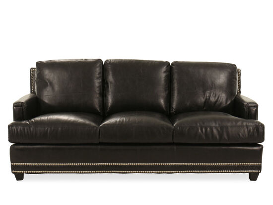 "86"" Nailhead-Trimmed Contemporary Sofa in Black"