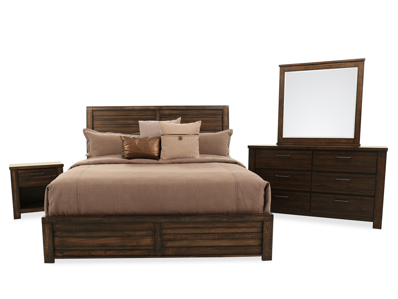 Four-Piece Traditional Bedroom Set in Brown Tobacco | Mathis ...
