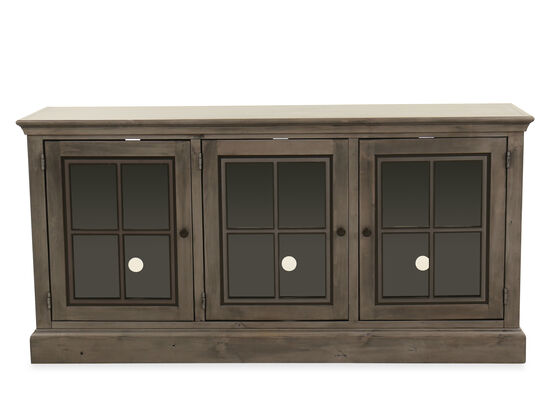 Three-Door Traditional Entertainment Center in Smokey Gray