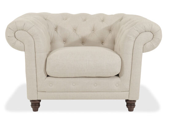 "Button-Tufted Contemporary 50"" Chair in Beige"