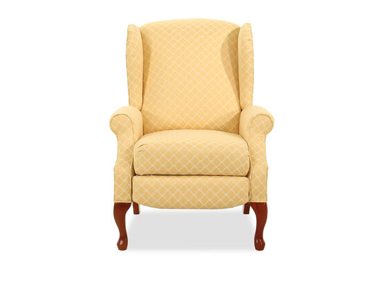 "Geometric-Patterned Traditional 30"" High-Leg Recliner in Yellow"
