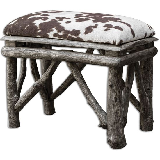 "Cow Hide Print 22"" Accent Bench in Weathered Driftwood"