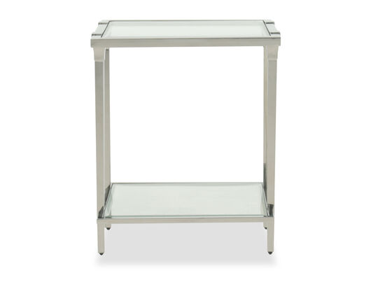 Modern Rectangular End Table in Silver