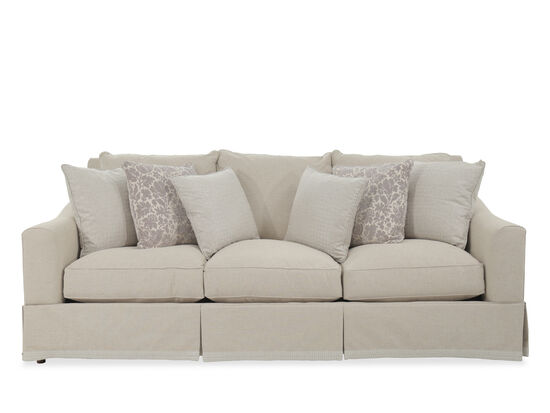 "Traditional 98"" Skirted Sofa in Beige"