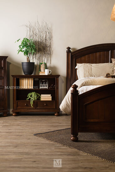 Two-Drawer Contemporary Bookcase Chest in Dark Chocolate