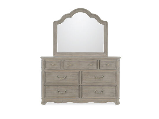 Two-Piece Contemporary Dresser and Mirror in Light Brown