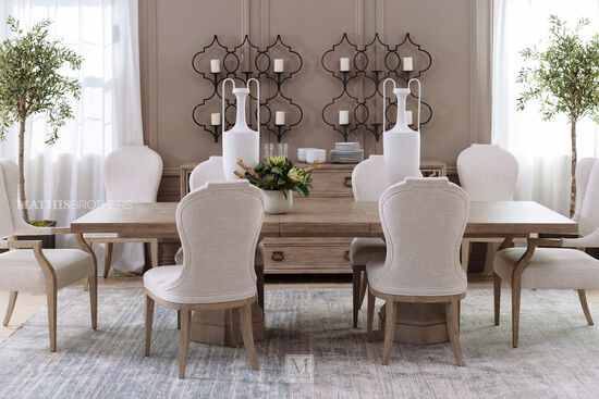 "Traditional 92"" Double Pedestal Dining Table in Sandstone"