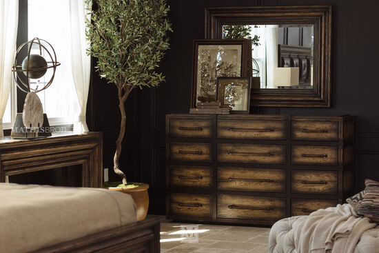 "41"" Casual 12-Drawer Dresser in Dark Wood"