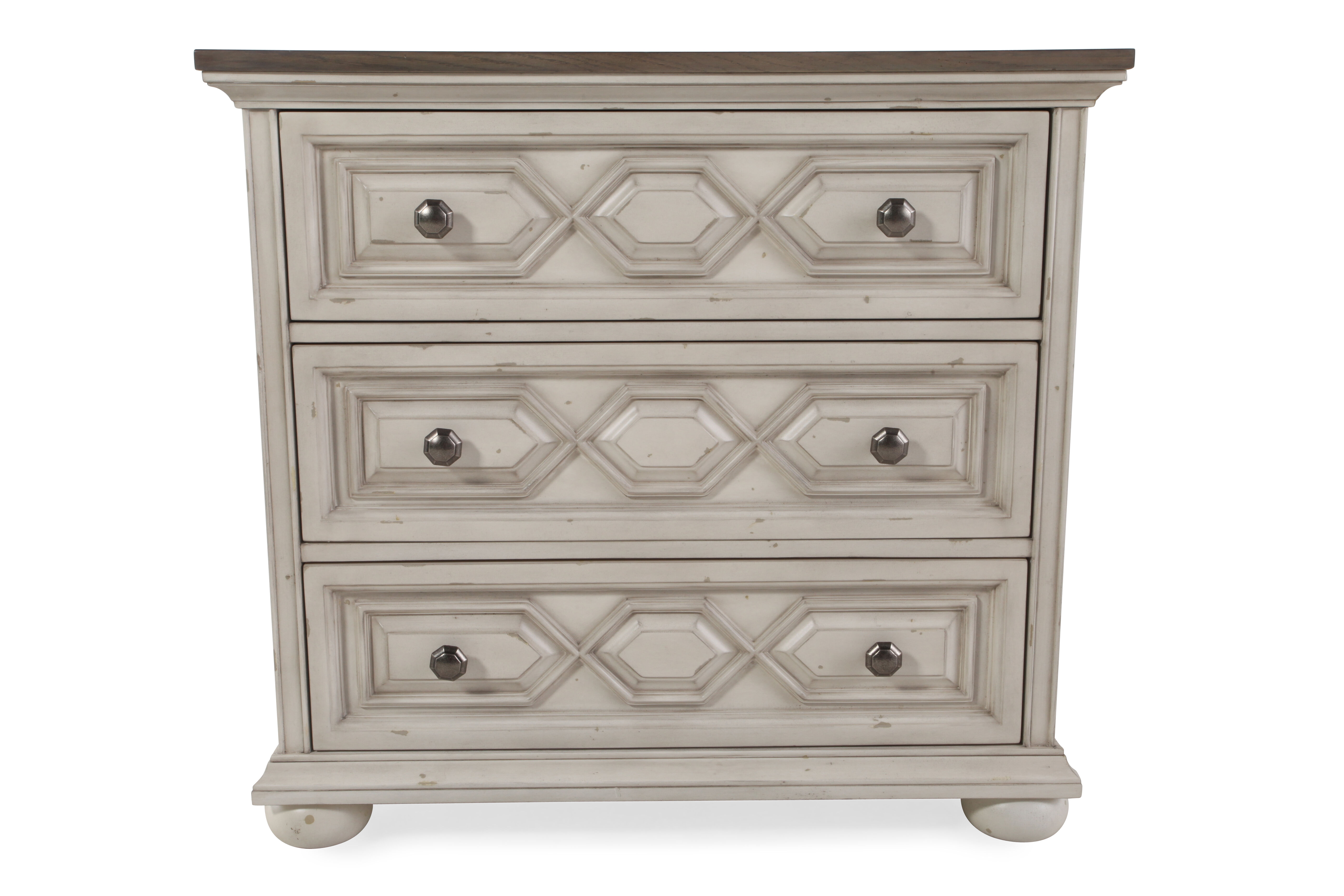 31.5u0026quot; Three Drawer Traditional Bachelor Chest In Vintage White