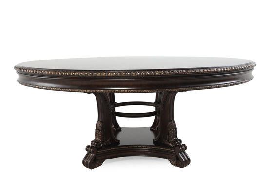 "Traditional 72"" Acanthus Leaf-Carved Dining Table in Blackened Sorel"