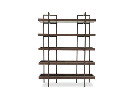 Five-Shelf Contemporary Open Bookcase in Medium Brown