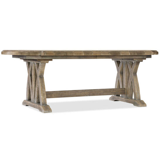 "Boheme Colibri 88"" Trestle Dining Table W/1-20"" Leaf in Light Wood"