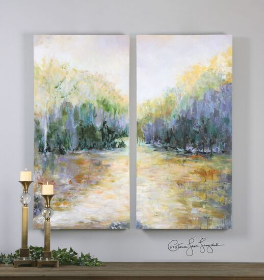 Two-Piece Landscape Canvas Wall Art Set in Blue/Green/Gold