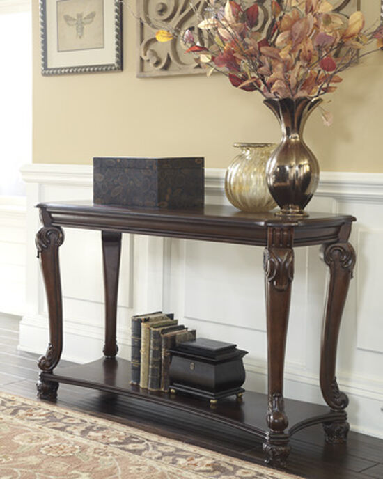 Scrolled Legs Traditional Sofa Table in Dark Brown