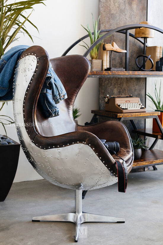 """Rivet-Accented Leather 32"""" Swivel Accent Chair in Brown"""