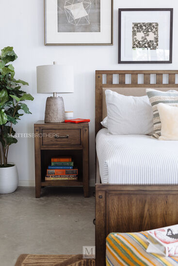 Contemporary Youth One-Drawer Nightstand in Oiled Oak