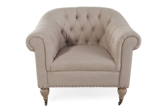 "Button-Tufted Traditional 38"" Chair in Latte"