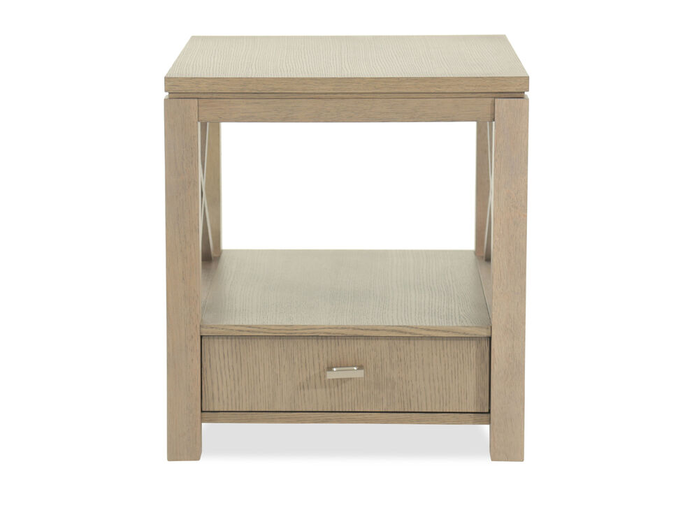 One-Drawer Modern End Tablein Brown