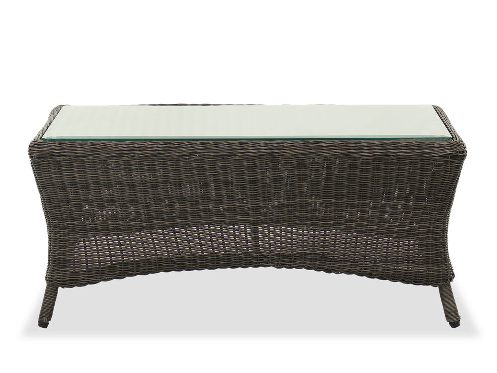 Glass Top Woven Coffee Table in Dark Gray
