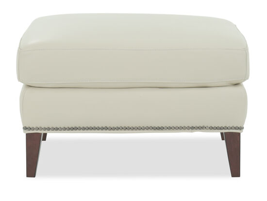 Nailhead Accented Leather Ottoman in Cream