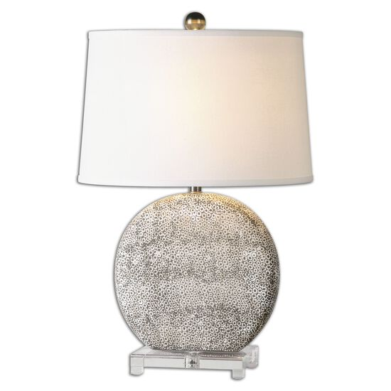 Textured Oval Shade Lamp in Aged Ivory