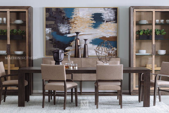 Seven-Piece Transitional Dining Set in Flaky Oak