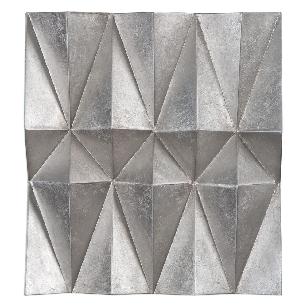 Three-Piece Multi-Faceted Iron Panels in Champagne Silver Leaf