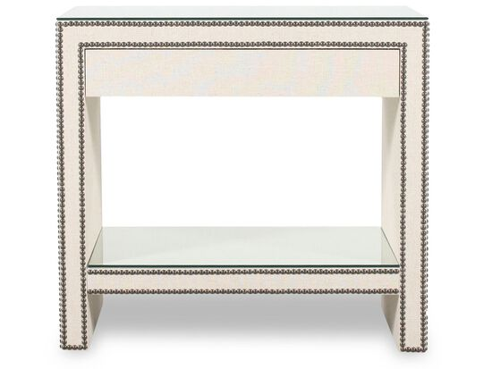 """28"""" Transitional Nailhead Accented Nightstand in White"""