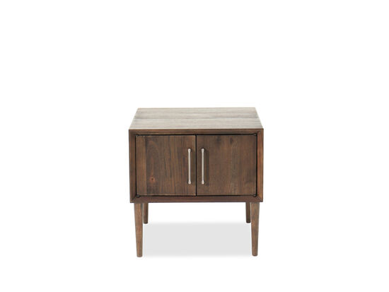 Mid-Century Modern Two-Door End Table in Brushed Dry Brown