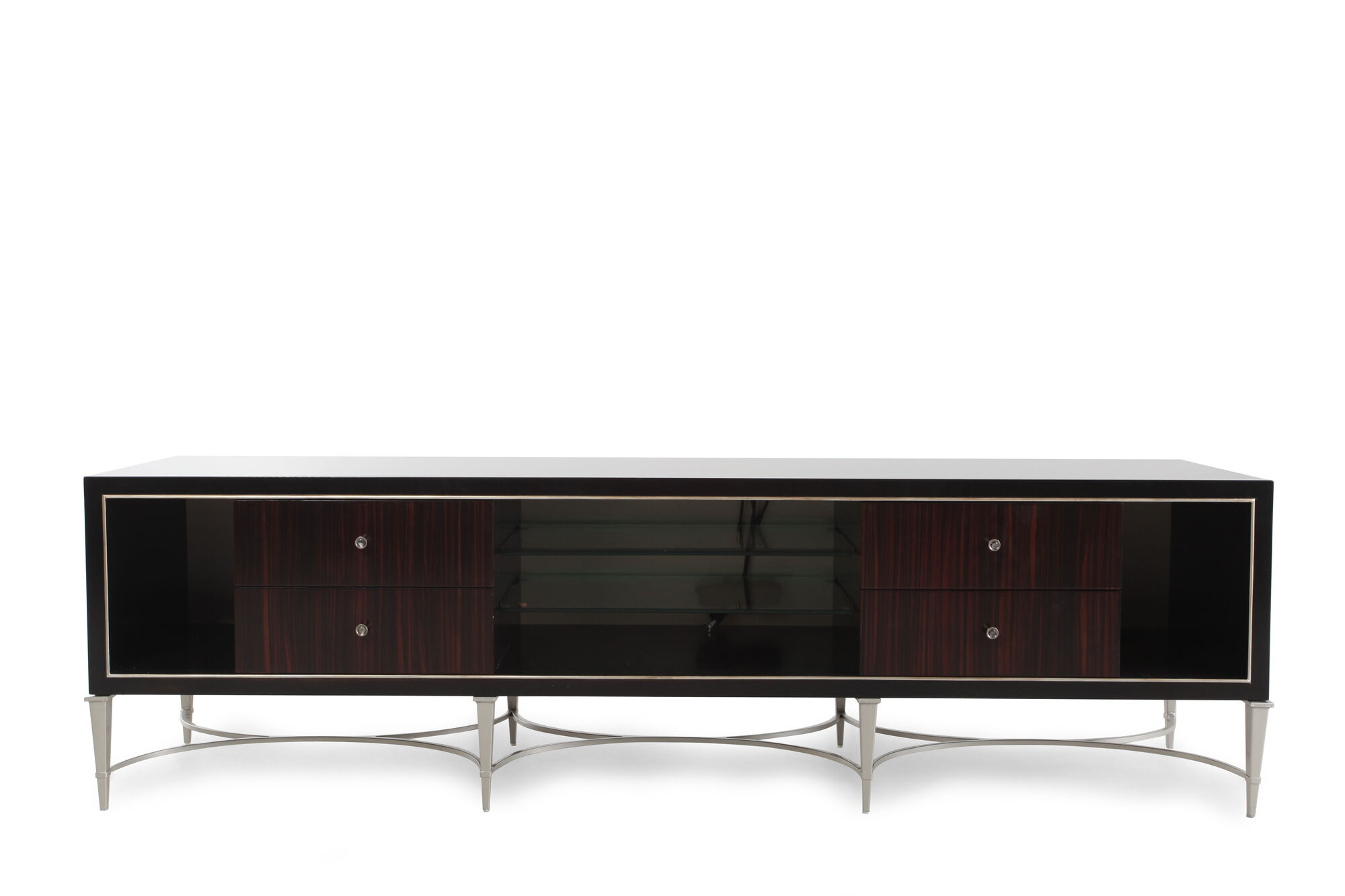 Low Profile Contemporary Media Console In Dark Brown Mathis Brothers Furniture