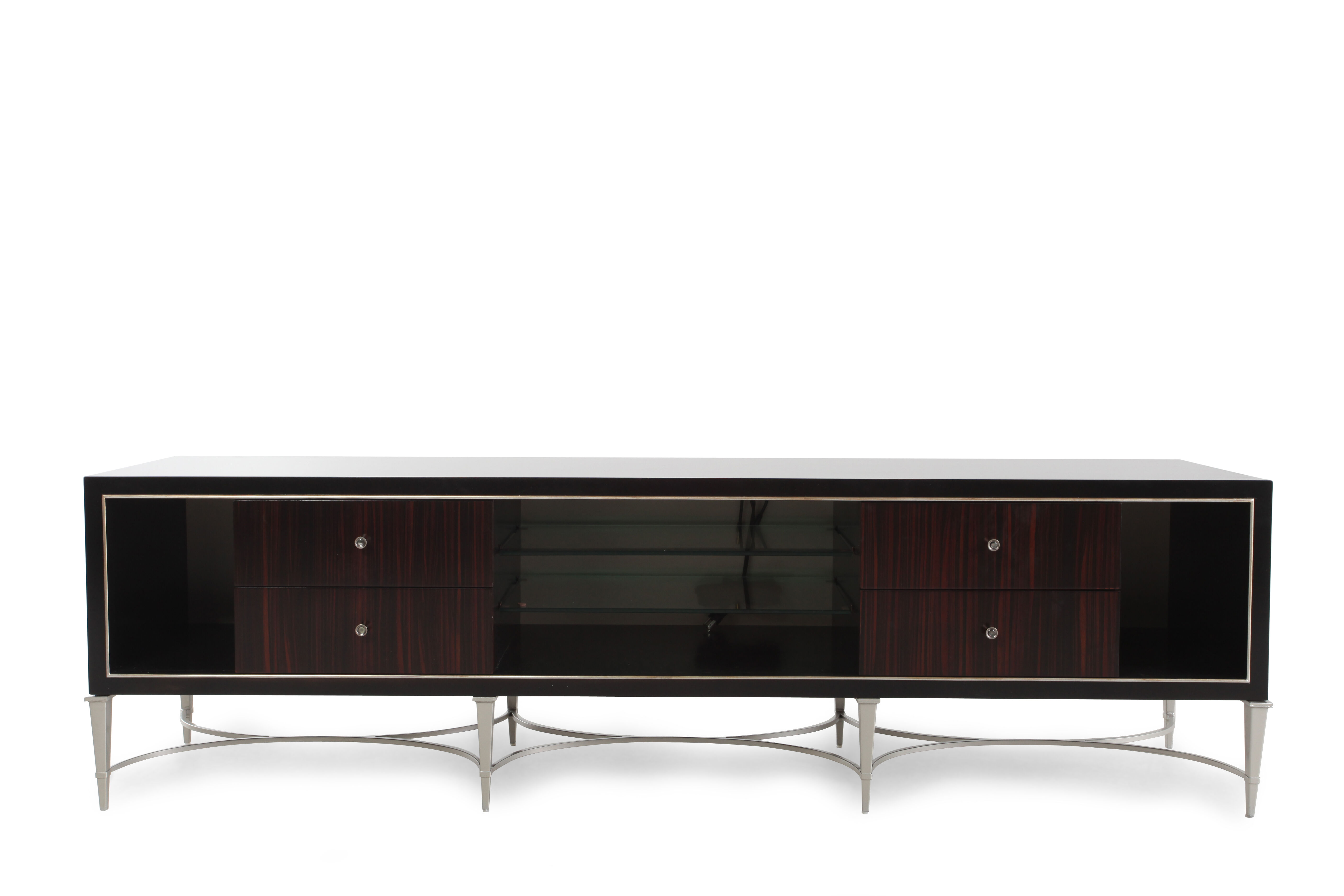 Images Low Profile Contemporary Media Console In Dark Brown Low Profile Contemporary  Media Console In Dark Brown