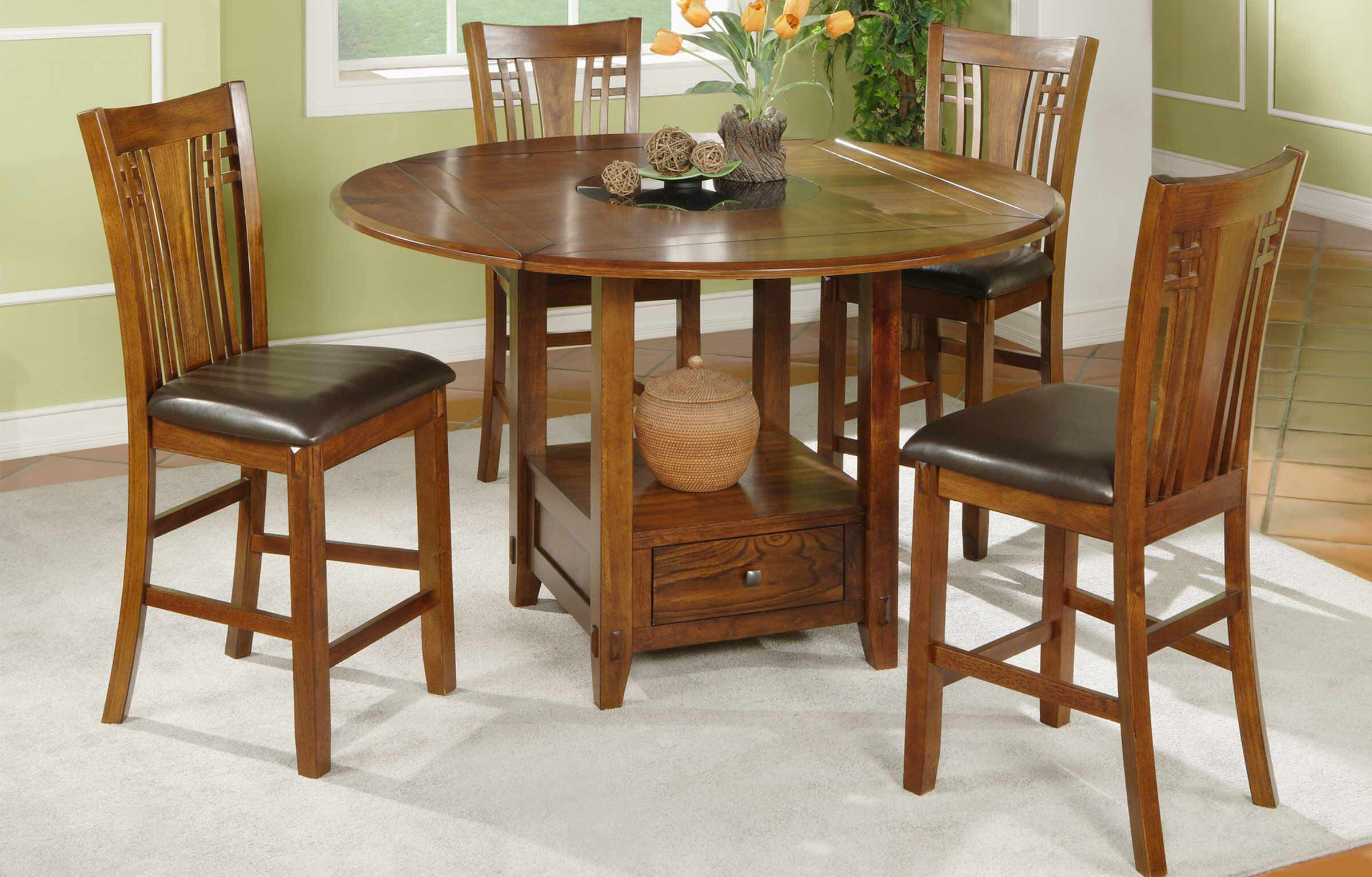 Traditional Five Piece Wood Grain Pub Set In Distressed Walnut