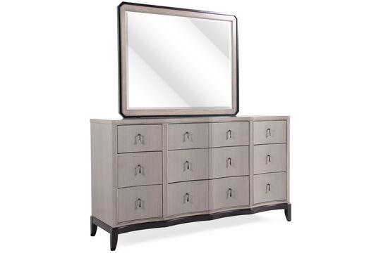 Two-Piece Serpentine Contemporary Dresser and Mirror in Platinum