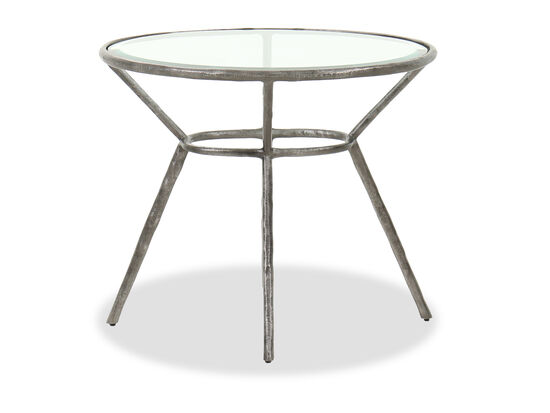 Casual Oval Chairside Table in Antique Iron