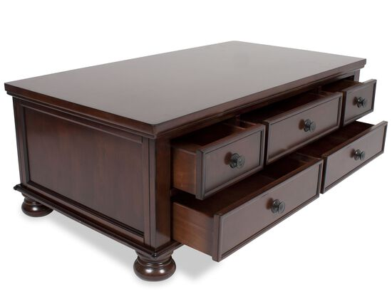 Traditional Storage Cocktail Table in Brown Cherry
