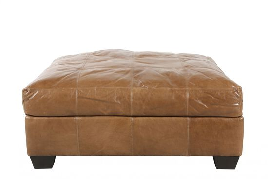 "Traditional 42"" Leather Ottoman in Caramel"
