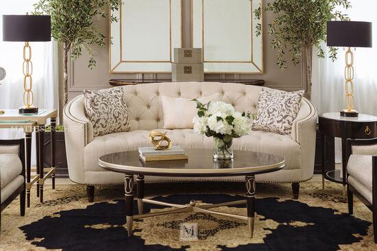 Button-Tufted Demilune Sofa in Cream