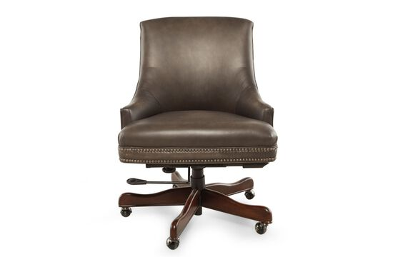Leather Nailhead Accented Executive Swivel Tilt Chair in Dark Cherry