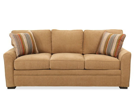 """Low-Profile Transitional 83"""" Queen Sleeper Sofa in Brown"""