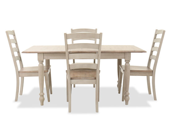 Five-Piece Solid Wood Dining Set in Oatmeal