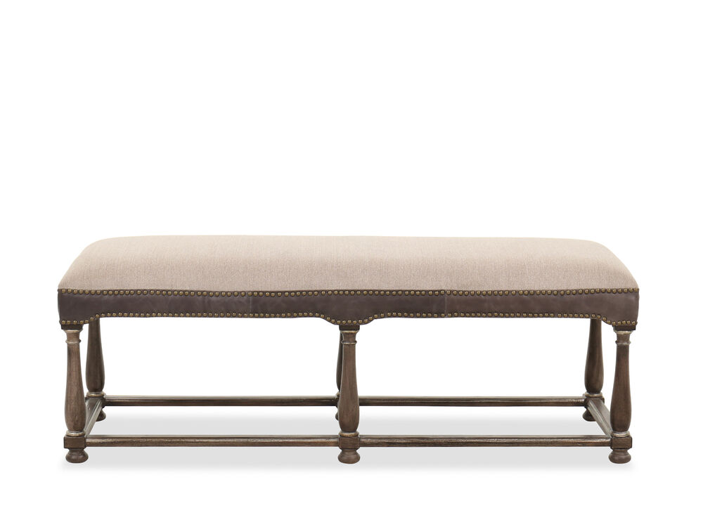 Nailhead-Trimmed Traditional Bench in Lenox Taupe / Heathered Lambswool