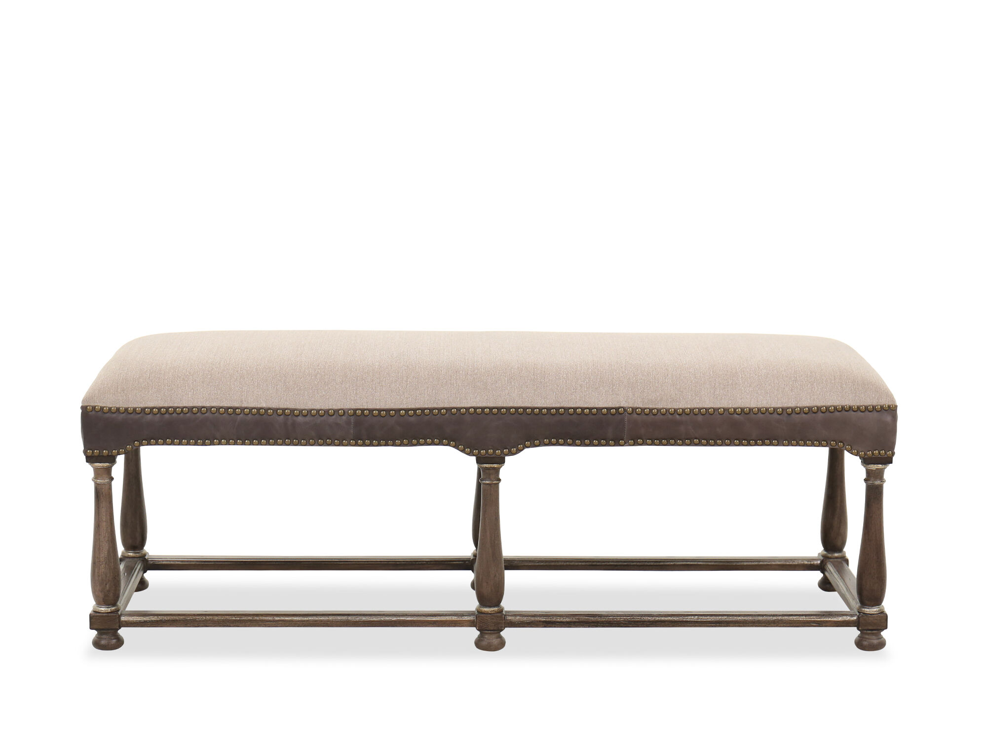 Nailhead Trimmed Traditional Bench In Lenox Taupe/ Heathered Lambswool    Mathis Brothers Furniture