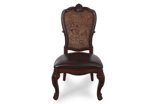 Leather 44'' Side Chair in Dark Burgundy