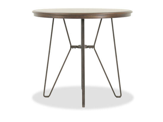 "40"" Round Counter Table with Angled Tubular Base in Earthy Brown"