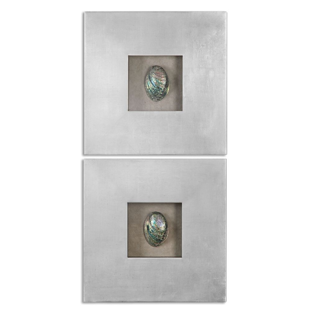 Two-Piece Abalone Shell Wall Art in Silver Leaf